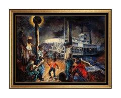 Robert Rucker Original Oil Painting On Canvas Signed New Orleans Jazz Artwork