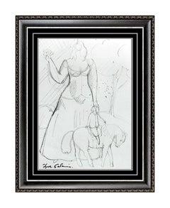 Igor Galanin ORIGINAL Drawing Female Portrait Horse Signed Artwork Landscape SBO
