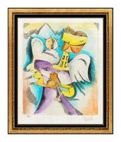 Alexandra Nechita Original Watercolor Painting Etching Garden Angels Signed Art