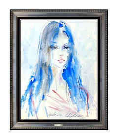 LeRoy Neiman Original Painting Signed Watercolor Maiko Lee Nude Playboy Artwork