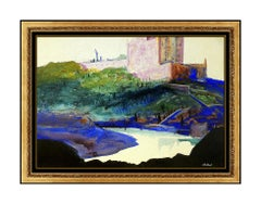 John Whorf Large Watercolor Painting Original Landscape Signed Framed Artwork