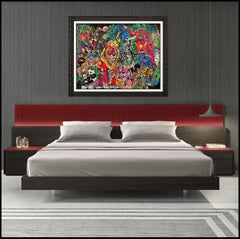 Jiang Tie Feng Serigraph On Canvas My World II Signed Animal