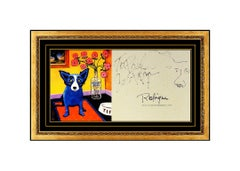 George Rodrigue Original Blue Dog Absolut Drawing Hand Signed Modern Artwork SBO