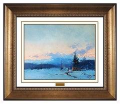 Thomas Kinkade Original Oil Painting On Board Western Illustration Signed Art