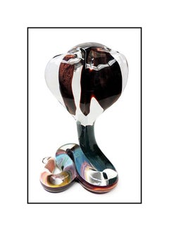 Dino Rosin Original Hand Blown Murano Glass Cobra Snake Crystal Facet Signed Art
