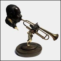 Paul D. Wegner Hello Louis Armstrong Satchmo Bronze Sculpture Signed Jazz Art