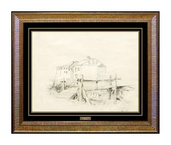 Louis Comfort Tiffany Original Drawing HAND SIGNED LCT Architecture Antique Art