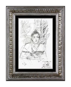 David Burliuk Rare Original Ink Drawing Hand Signed Framed Portrait Artwork SBO