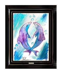 Christian Riese Lassen Original Dolphin Painting Signed Modern Sea Life Artwork