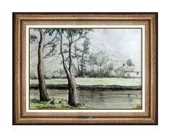 Paul Emile Pissarro Original Watercolor Painting Hand Signed French Landscape