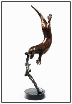 Christopher Smith Original Bronze Sculpture Signed Large Otter Fish Wildlife Art