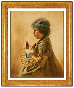 Gregory Perillo Oil Painting On Canvas Signed Native American Child Portrait Art