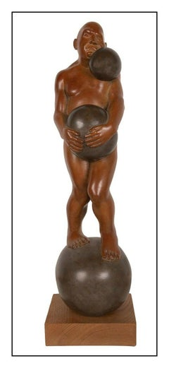 Michael Bergt Large Bronze Sculpture On A Roll Male Figurative Signed Artwork