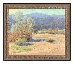 Lee Logan Original Oil On Canvas Painting Signed Western Desert Landscape Art