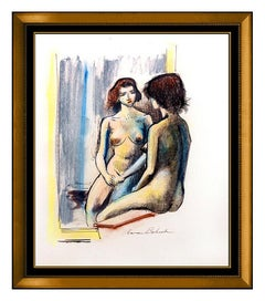 Aaron Bohrod Original Watercolor Painting Signed Nude Female Portrait Artwork