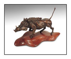 Alan Hamwi Bronze Full Round Sculpture Attitude Warthog Original Signed Artwork