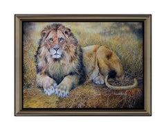 BONNIE MARRIS Original OIL PAINTING ON CANVAS Signed Animal LION Art HUGE 36x50