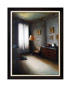 Claude Lazar Original Oil Painting on Canvas Signed Modern Interior Still Life