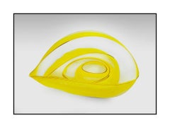 Dale Chihuly Original 4 Piece Basket Set Hand Blown Glass Yellow Gold Art Signed