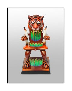 Dan Meyer Original Sculpture Tiger Chair Hand Signed Daniel Painting Artwork SBO