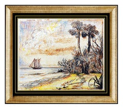 David Burliuk Original Color Ink Drawing Signed Female Landscape Authentic Art