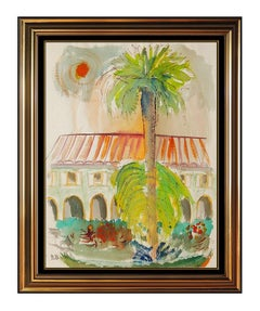David Burliuk RARE Original Watercolor Painting Signed Landscape Framed Artwork