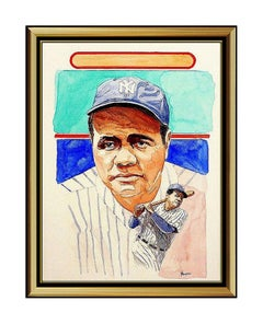 DICK PEREZ Original Painting BABE RUTH Signed Baseball Card Hall Of Fame Yankees