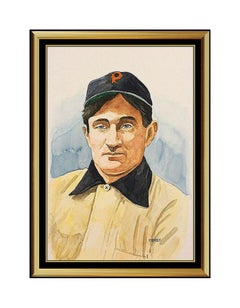 DICK PEREZ Original Painting HONUS WAGNER Signed Baseball Card Hall of Fame Art