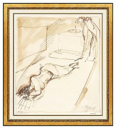George Grosz Original Watercolor Painting Signed Nude Female Illustration Art