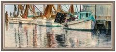 Richard Iams Large Original Harbor Seascape Painting Acrylic On Board Signed Art