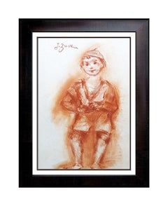JACQUES ZUCKER Drawing Authentic ORIGINAL COLOR Sanguine painting art SIGNED oil