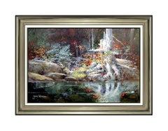 James Coleman Large Oil Painting On Canvas Signed Landscape Nature Scene Artwork