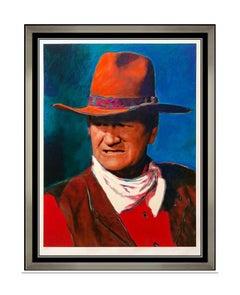 James F Gill Duke John Wayne Large Color Serigraph Cowboy Portrait Signed Art