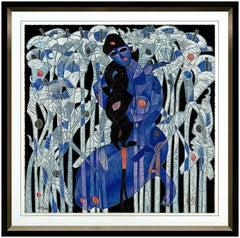 Jiang Tie Feng Calla Lilies Large Color Serigraph Signed Female Portrait Artwork