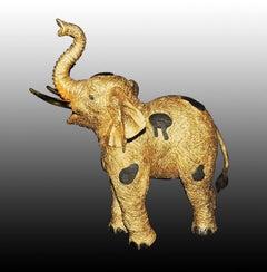JIANG TIE FENG Original GOLDEN Elephant BRONZE SCULPTURE Signed Chinese Gold