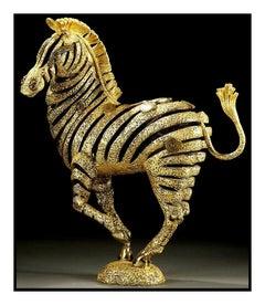 JIANG TIE FENG Original GOLDEN ZEBRA Bronze Sculpture Signed Art Chinese TieFeng