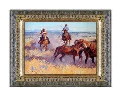 Jim C Norton Original Oil Painting On Board Signed Western Cowboy Horse Artwork