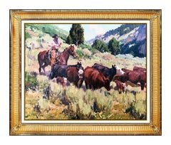 Jim C Norton Original Oil Painting On Board Signed Western Horse Landscape Art