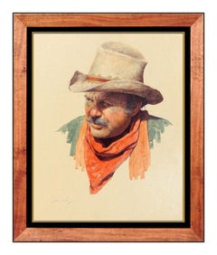 Jim Daly Oil Painting On Board Original Signed Cowboy Portrait Male Illustration