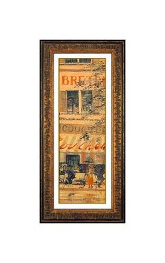 John Morris Original Oil Painting on Canvas Board Signed Cityscape Framed Art