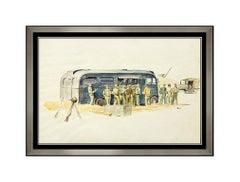 John Walter Scott Original Gouache Painting Illustration Signed Army Men Artwork