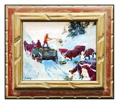 Joseph Stahley Oil Painting on Board ORIGINAL RARE Signed Western Animal Artwork