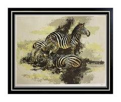 Large MARK KING Original Serigraph SIGNED ZEBRAS Art painting Animal drawing