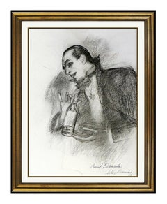 LeRoy NEIMAN Original Charcoal Drawing Hand Signed Count Dracula Portrait Art