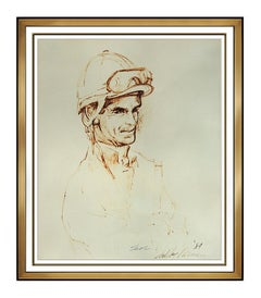 LeRoy Neiman Original Ink Drawing Signed Horse Racing Willie Shoemaker Artwork