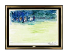 LeRoy Neiman Original Oil Painting Signed Horse Racing Jockey Sports Watercolor