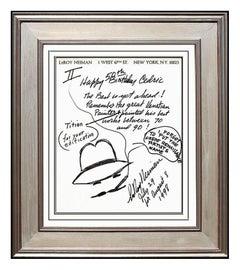 LeRoy NEIMAN Original Signed Self Portrait Drawing Artwork Framed Painting