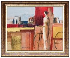 Adriana Naveh Original Acrylic Painting On Canvas Framed Portrait Large Artwork