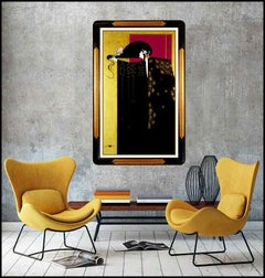 Lillian Shao Original Painting Acrylic On Canvas Large Signed Female Framed Art