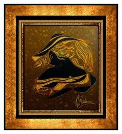 MARTIROS Manoukian Original Painting Acrylic On Board Signed Female Portrait